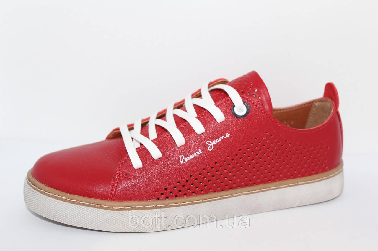 Кеды красные кожаные летние