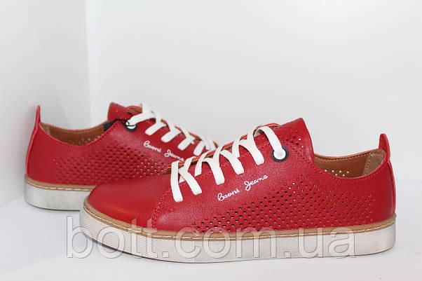 Кеды красные кожаные летние, фото 3