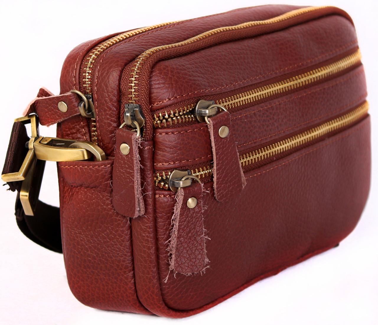 Мужская кожаная сумка Dovhani BL3011832 Рыжая