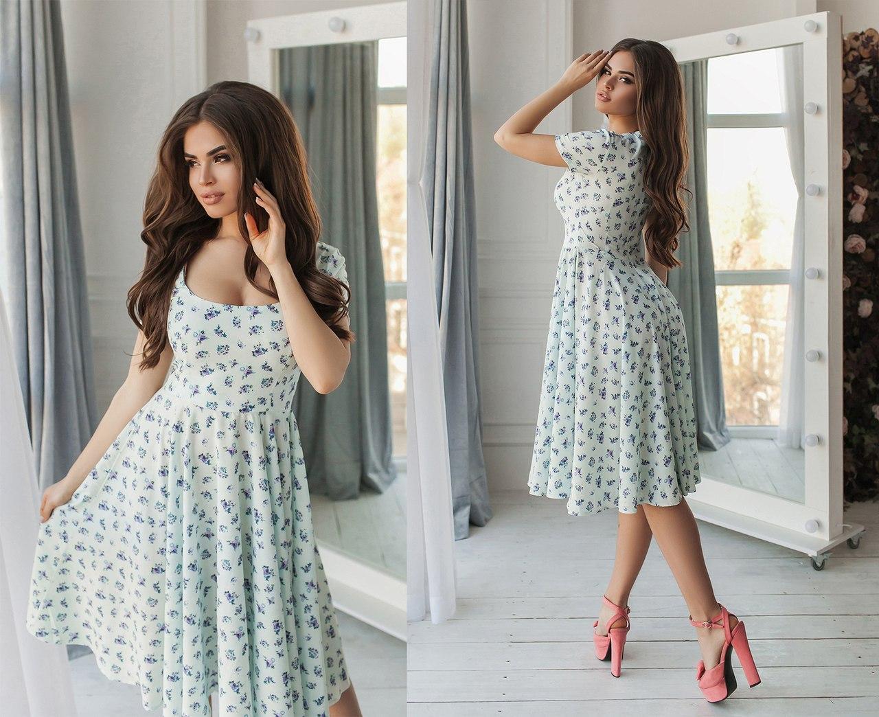 """Элегантное летнее женское платье средней длины 2120 """"Софт Цветочки Клёш Миди"""""""