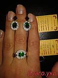 Комплект ЗАР-4 из серебра с золотыми накладками - Серьги и кольцо, фото 3