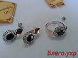 Комплект ЗАР-4 из серебра с золотыми накладками - Серьги и кольцо, фото 5
