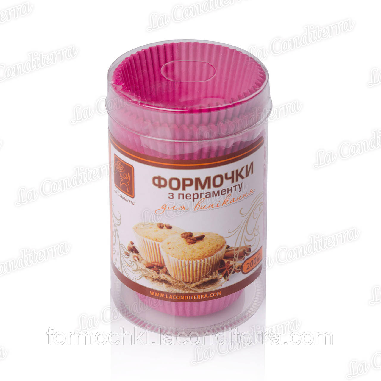 Бумажные формы для кексов, маффинов и капкейков 5-Тубус, розовые (200 шт.)