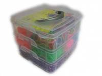 Набор Cube на 3200 резинок в пластиковом кейсе для плетения из резиночек в стиле Rainbow loom