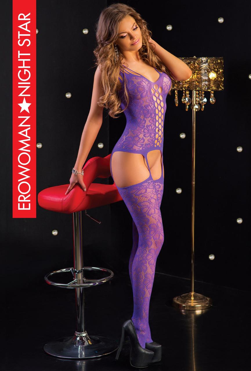 Фиолетовый комбинезон сетка s/l