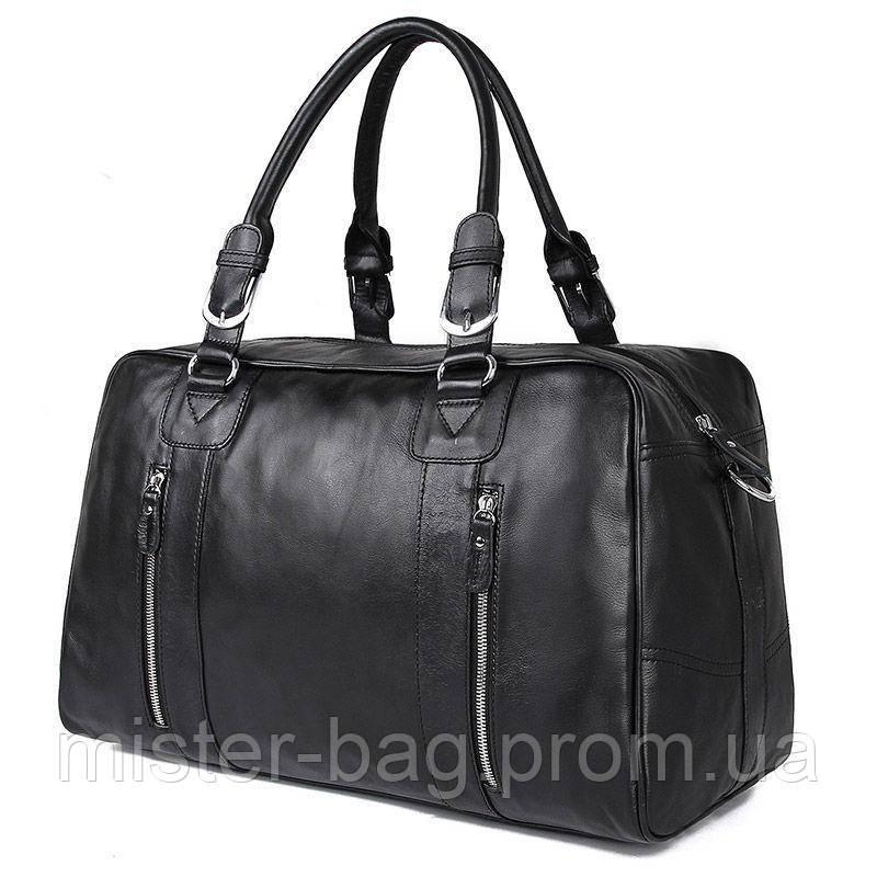 881049c9f2c4 Кожаная стильная дорожная сумка, черная 7190A John McDee -  Специализированный магазин сумок