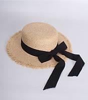 Шляпка канотье женская пляжная с черной ленточкой