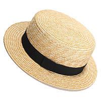 Шляпка женская соломенная канотье с черной ленточкой
