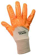 """Перчатки х/б трикотаж, неполное нитриловое покрытие, вязаный манжет (желтые) 10"""", 58-60 г MasterTool 83-0405"""