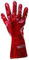 """Перчатки кислотостойкие, х/б трикотаж, полноеПВХ покрытие, манжет крага(красные)350мм,10,5"""", MasterTool 83-0502"""