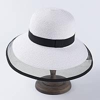 Пляжная шляпа Одри Хепберн белая с черной ленточкой