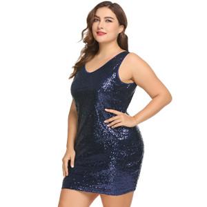 Коктейльное платье женское  с V-образным вырезом Iс пайетками синее
