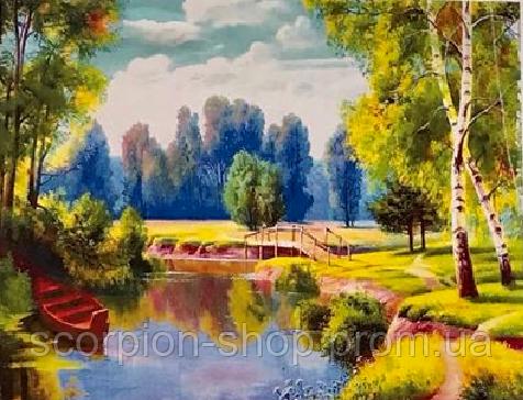 """Алмазная живопись картина """"Березки у реки"""" (40*30 см) Полная закладка"""