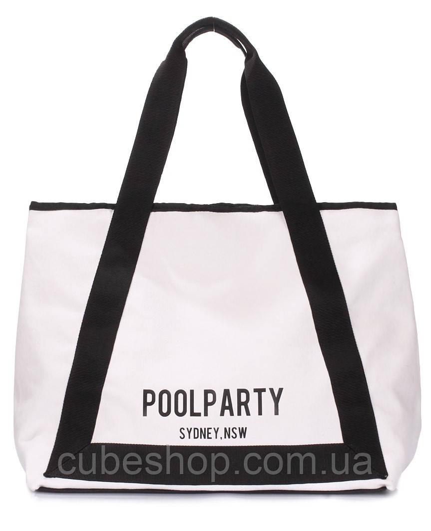 Котоновая сумка Poolparty Laguna (белая)