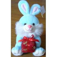 Мягкая игрушка озвученая Голубой заяц с подарком