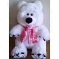 Мягкая озвученная игрушка Белый медведь в шарфе