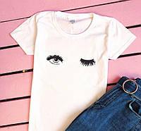 Женская футболка с глазами летняя белая, фото 1