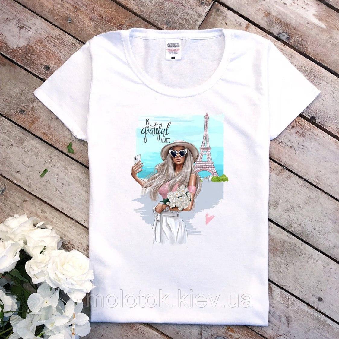 Женская футболка Париж летняя белая