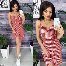 Стильное платье мини полосатое с запахом без рукав на бретелях красное, фото 2