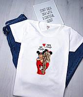 Женская футболка Мама и ребенок летняя белая рисунок качественная шелкография