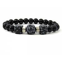 Эксклюзивный браслет Обсидиан + агат, Изысканный браслет из натурального камня, красивые украшения