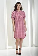 Модное, стильное женское платье летнее в клетку, платье рубашка