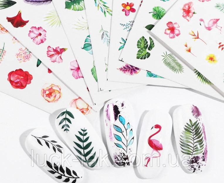 Слайдеры мелкие, яркие  водные наклейки для ногтей