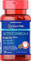 Рыбий жир Puritans Pride Extra Strenth Active Omega  30 кап.