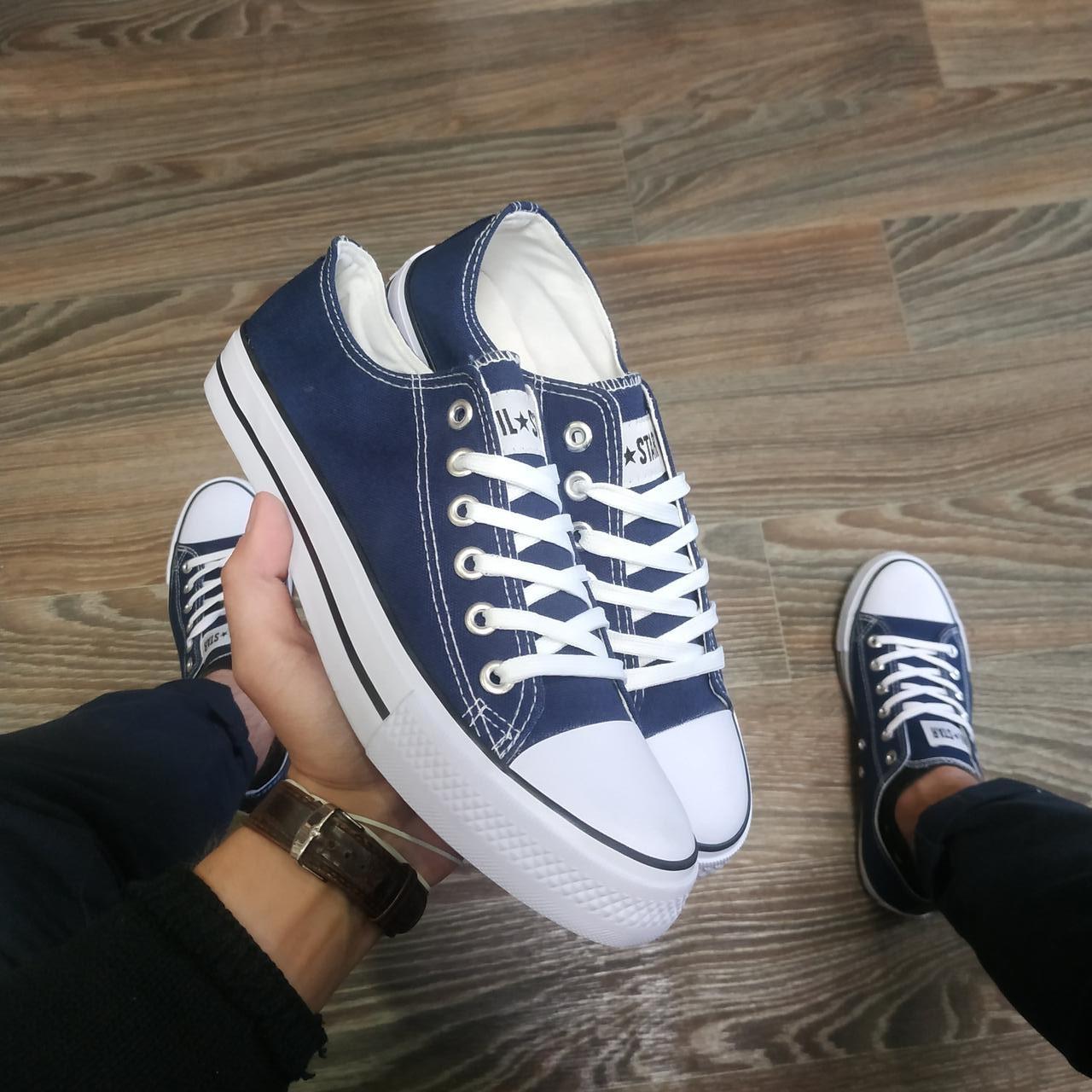 Конверси жіночі і чоловічі темно сині кросівки, кеди конверси AIL STAR в стилі Converse