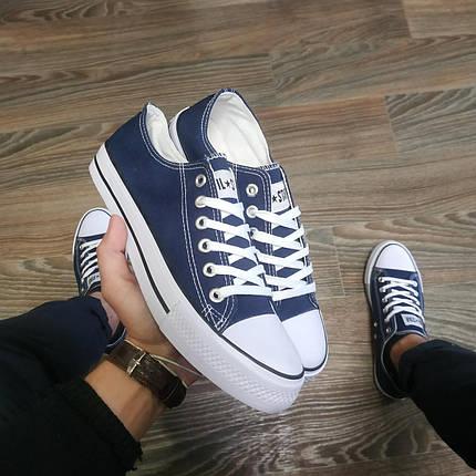 Конверси жіночі і чоловічі темно сині кросівки, кеди конверси AIL STAR в стилі Converse, фото 2