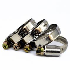 W2 / Хомут из нержавейки 10-16 мм (50 штук/уп) червячный Optima / Хомут нержавійка для шлангів