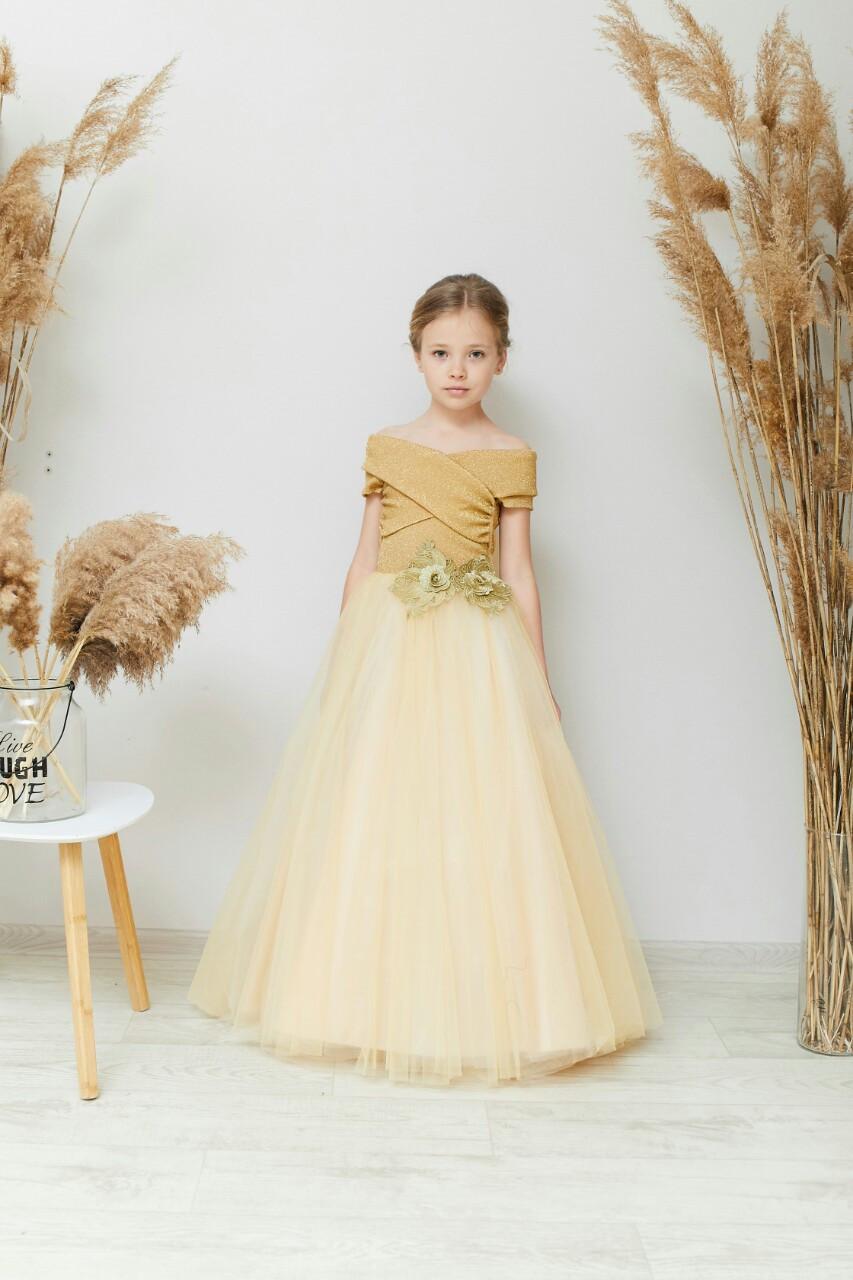 Платье детское нарядное на 6-10 лет золотое