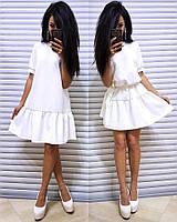 Платье с оборкой Kristina (арт. R22) Белый, M #B/E