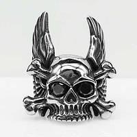 Байкерское кольцо череп с крыльями из стали 35 мм 101662