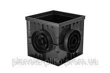 Дощоприймач-пісковловлювач PolyMax Basic 40.40 пластиковий чорний кутовий