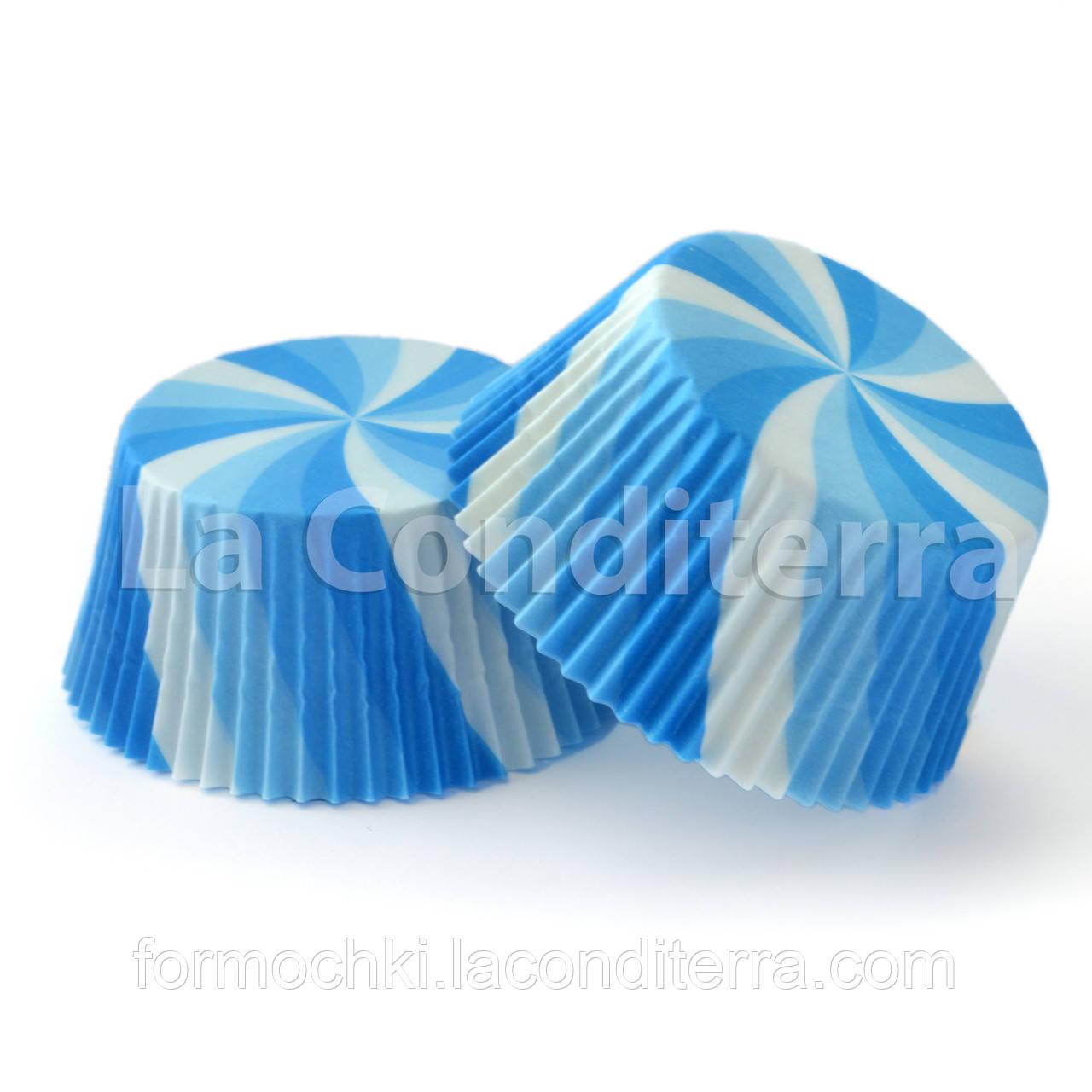 Бумажные формы для кексов «Вертушка голубая» (Ø50 мм), мин. партия от 2000 шт.