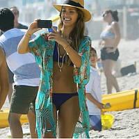 Пляжная накидка на купальник зеленая - размер универсальный (бюст 88-100см, длина 76см + 27см бахрома)