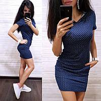 Платье с капюшоном и карманами Calvin Синее с каплями, M #B/E