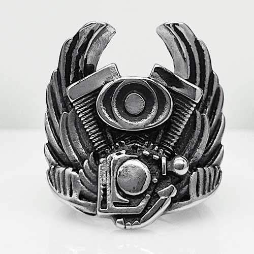 Байкерское кольцо Мотор байка из медицинской стали 26 мм 101679