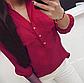 Однотонна блузка з коміром стійка укорочений рукав, фото 7