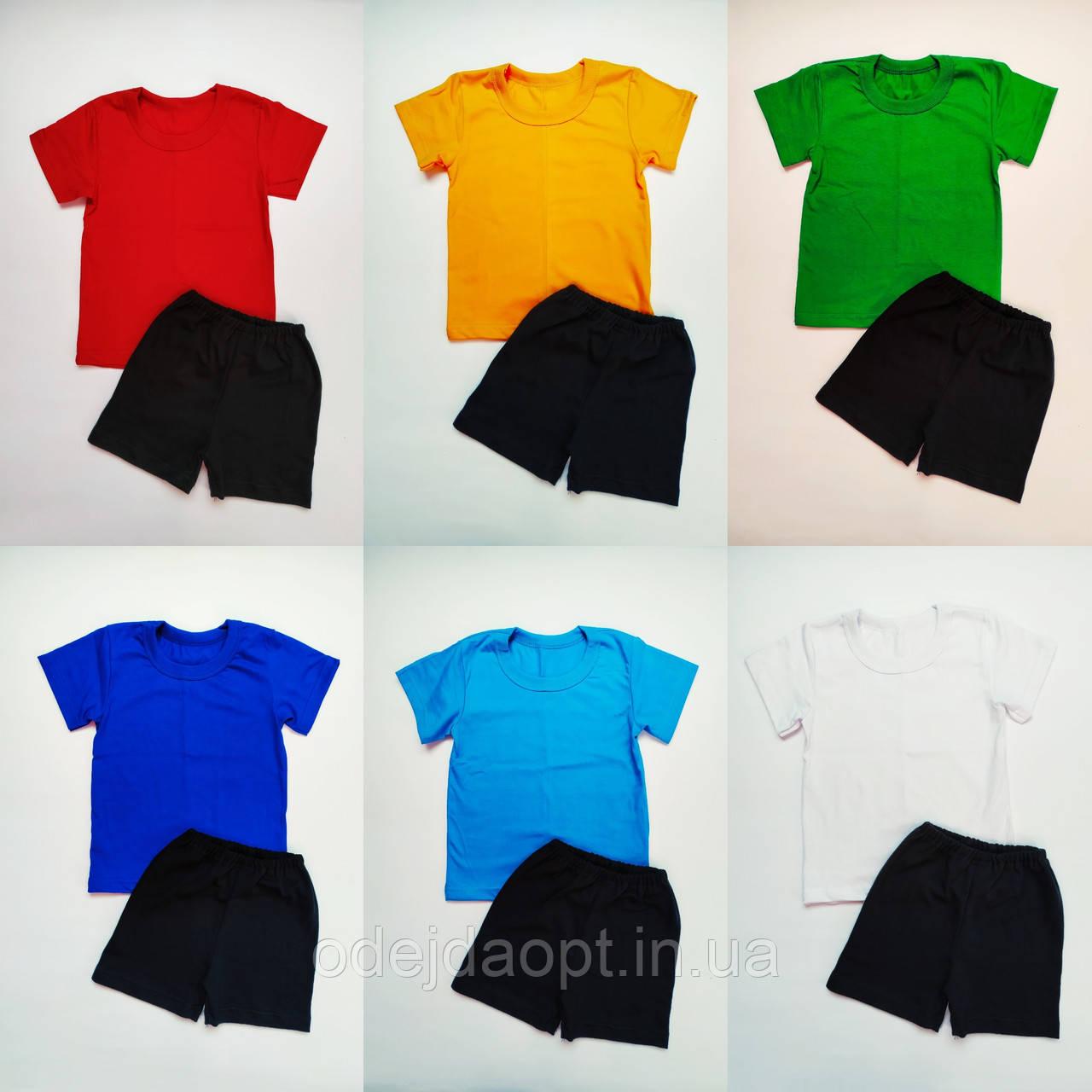 Комплект для детского сада (футболка-хлопок и черные шорты--интерлок)