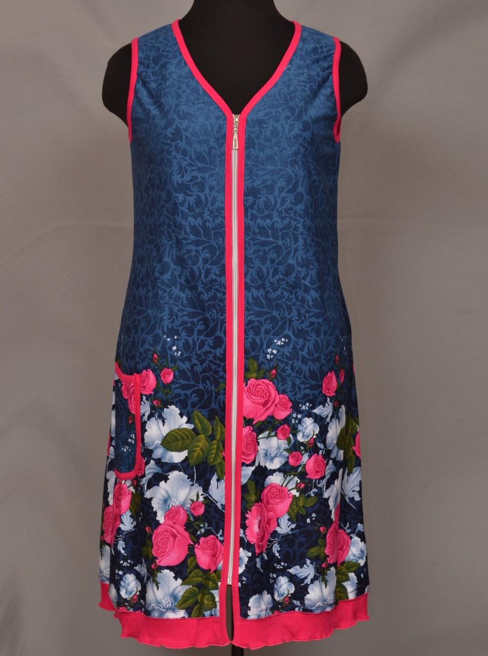 Летний халат женский на молнии домашний (100% хлопок)
