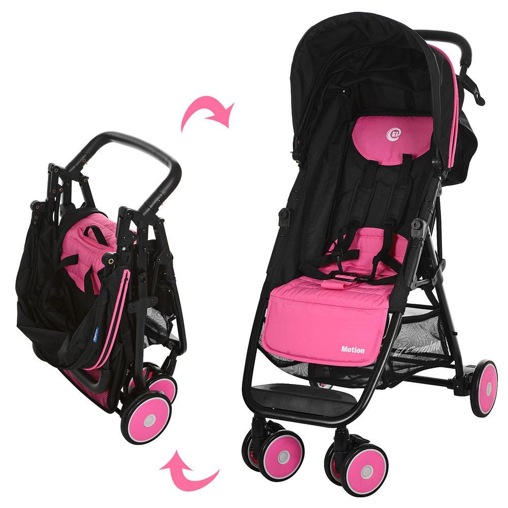 Дитяча прогулянкова коляска-книжка El Camino Motion M 3295-8 Чорний/Рожевий