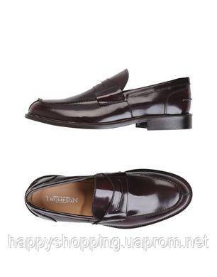 Мужские оригинальные итальянские стильные  кожаные черные туфли лоферы Thompson
