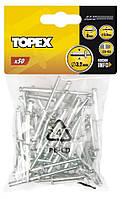 Заклепки алюминиевые 4.0 мм x 8 мм, 50 шт.*1 уп. Topex 43E401