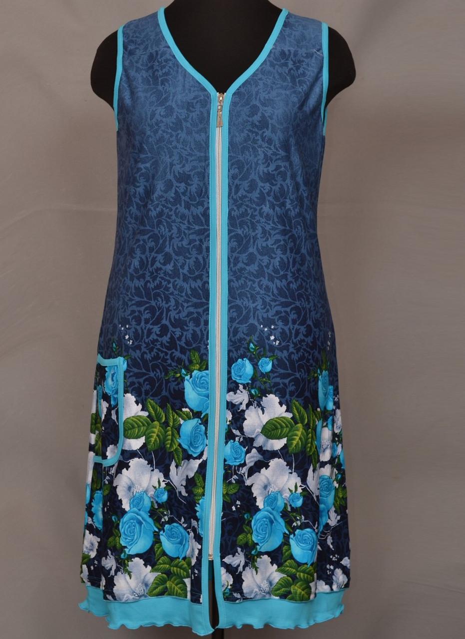Короткий халат жіночий на блискавці домашній (100% бавовна) фасон сарафан літній Україна