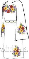 Заготовка вышивки бисером на домотканом полотне. Женское платье ВПЖП-5