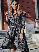 Асимметричное женское платье с рукавом большого размера