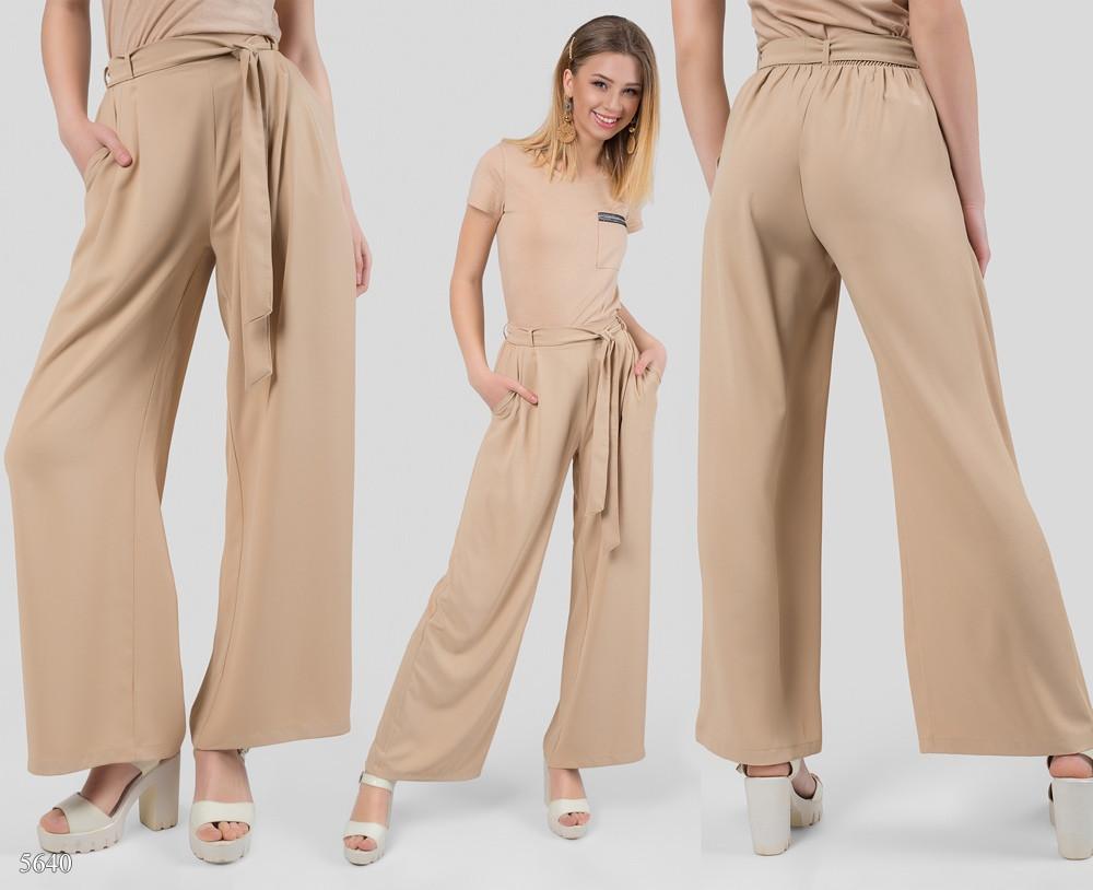 045238ef8648 Широкие женские брюки-палаццо бежевый - Bigl.ua