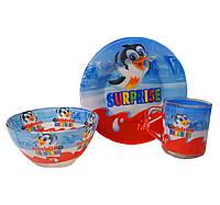 Детская ударопрочная посуда Киндер Сюрприз / Детский набор стеклянной посуды Surprise